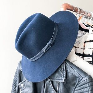 Rag & bone navy blue wide brim wool fedora M